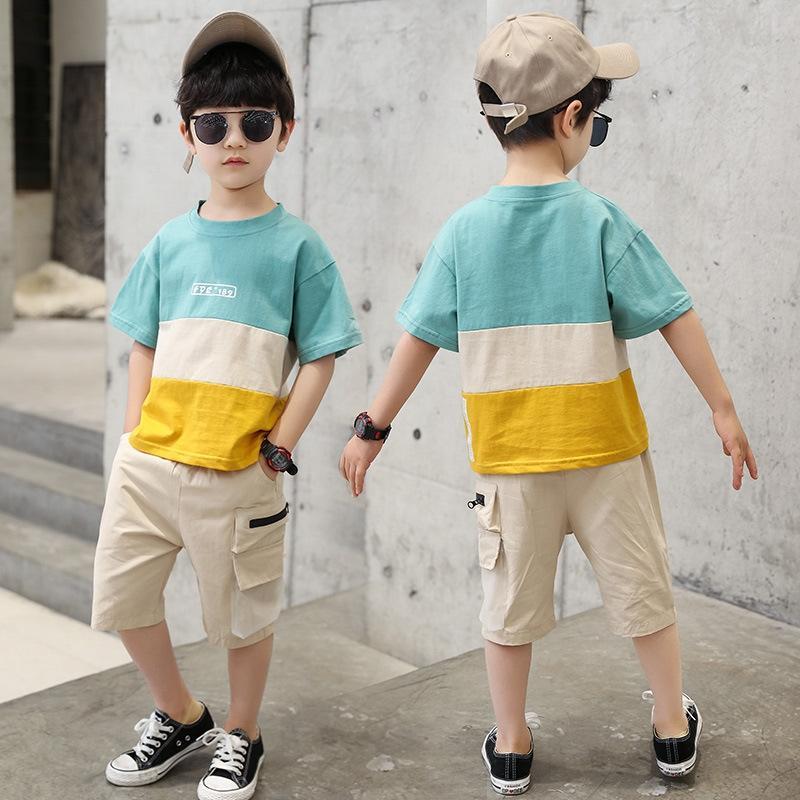 fHwSt costume d'été garçon nouveau moyen FIXER short décontracté deux pièces à manches courtes vêtements pour enfants 2020 Shorts et grand beau b enfants