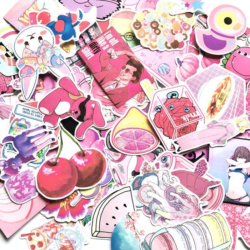 5 Sets = 320pcs Rosa-Mädchen-Cartoon-Aufkleber PVC-wasserdichter Auto-Aufkleber-Trolley-Fall-Aufkleber