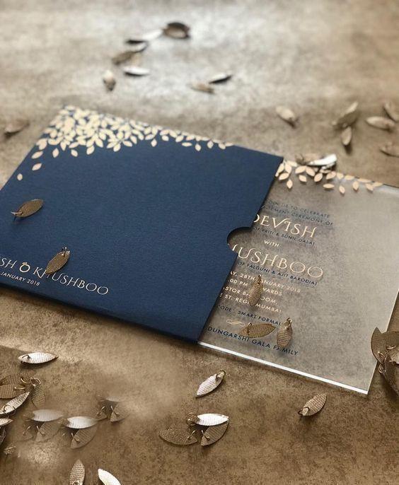 مخصص بطاقة دعوة الزفاف 10PCS يربطون الطباعة الملونة دعوات بطاقة الأزرق الملكي الاكريليك