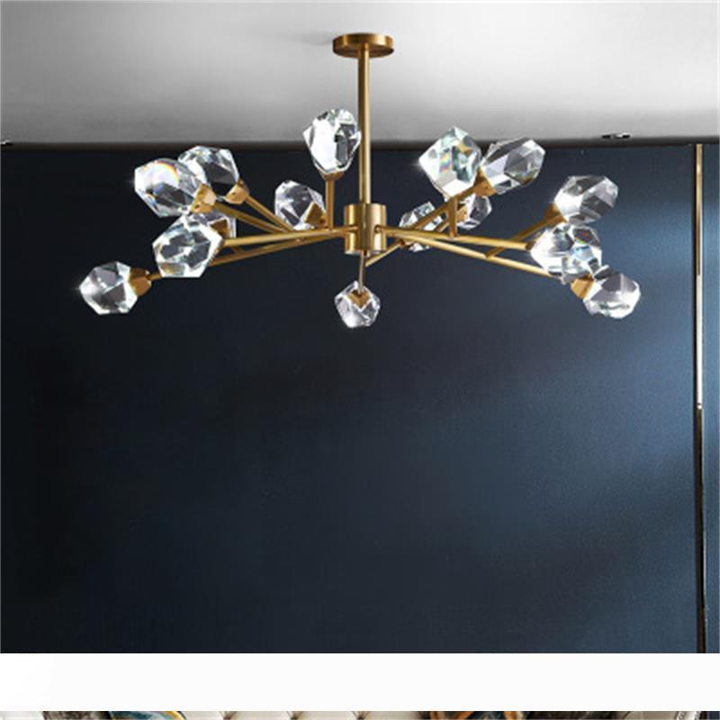 2020 nouveau lustre en cristal conduit moderne nordique vivant lampes suspendues salle à manger de la lampe de salon salle pleine de lampes pendentif en cuivre
