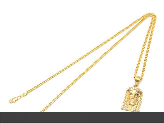 Top venta hiphop Crystal Rhinestone nuevo acero inoxidable color oro Bling Bling Jesús cabeza de la cara de los collares pendientes cadena de la joyería de moda punk