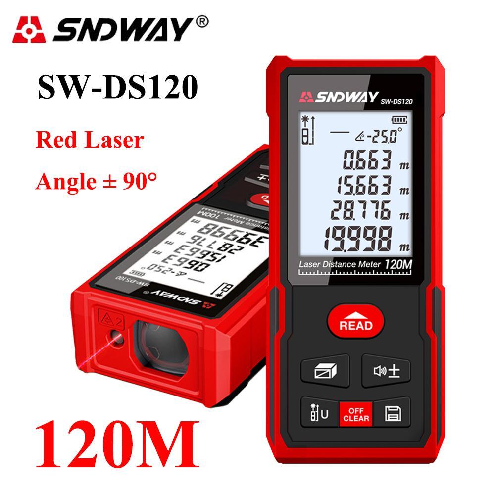 SNDWAY láser Láser medidor de distancia Digital telémetro 40-120M telémetro electrónico medidor de cinta Regla trena metro láser T200603