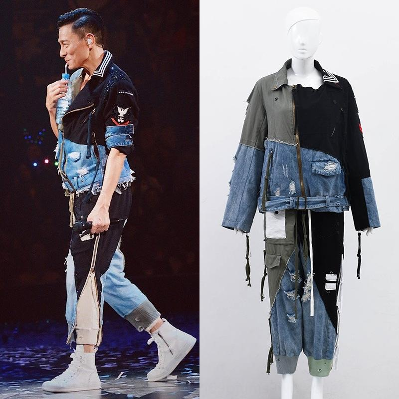 2019 concierto Liu Dehua Hong Kong mismo estilo de capa de mezclilla costura pantalones rompe la capa de moda para los hombres