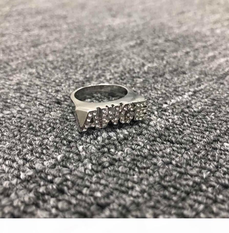 AWGE bague anneau de lettre classique ASAP ROCKY d'or et d'argent au comptant à deux couleurs forage surface lisse