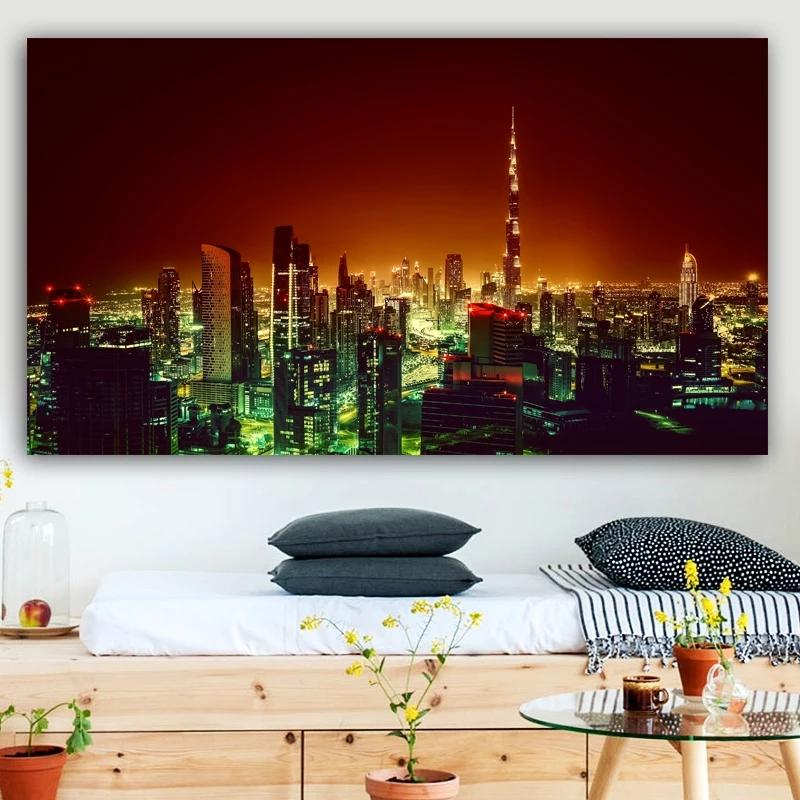 Beautiful Landscape Night Scene Cityscape Printed Art Wall Paintings Canvas Art For Living Room Home Decor Unframed
