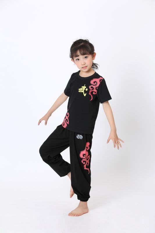 Vêtements pour enfants Arts martiaux coton manches courtes Survêtements Garçons et Filles Costumes Tai Chi Arts Martiaux