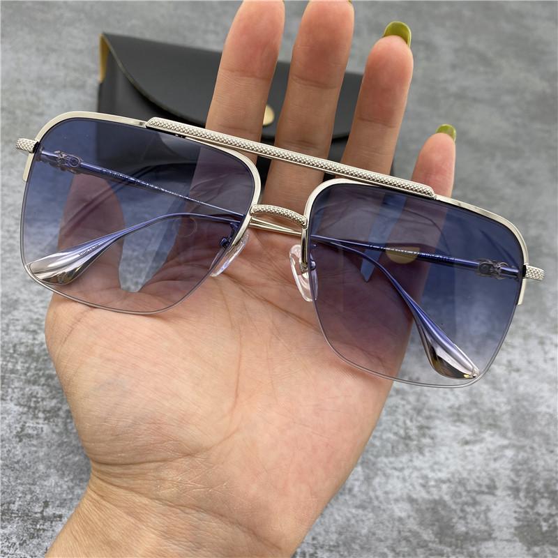Chrome occhiali da sole Fashion Square metallo Uomini Telaio Occhiali da sole grandi della struttura occhiali da sole del progettista di marca Retro guida Occhiali da sole con il caso originale