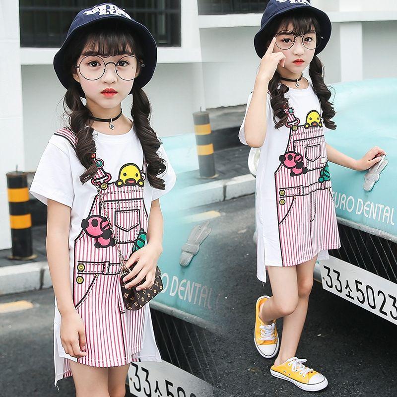 wzmzV 의류 여자 2019 새로운 앞치마 T 셔츠 기본 셔츠 한국 스타일의 여성의 중형 및 대형 캐주얼 짧은 소매 상단 패션 탑 어린이