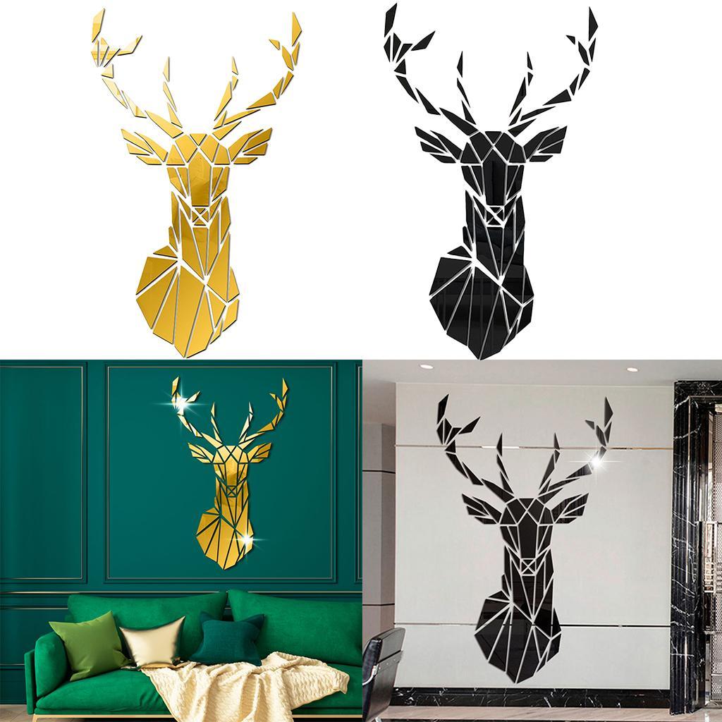 2021 Acrylic Deer Mirror Tiles Wall Sticker Decal Home Bedroom Decor Black Golden From Zeyuantrading 12 1 Dhgate Com