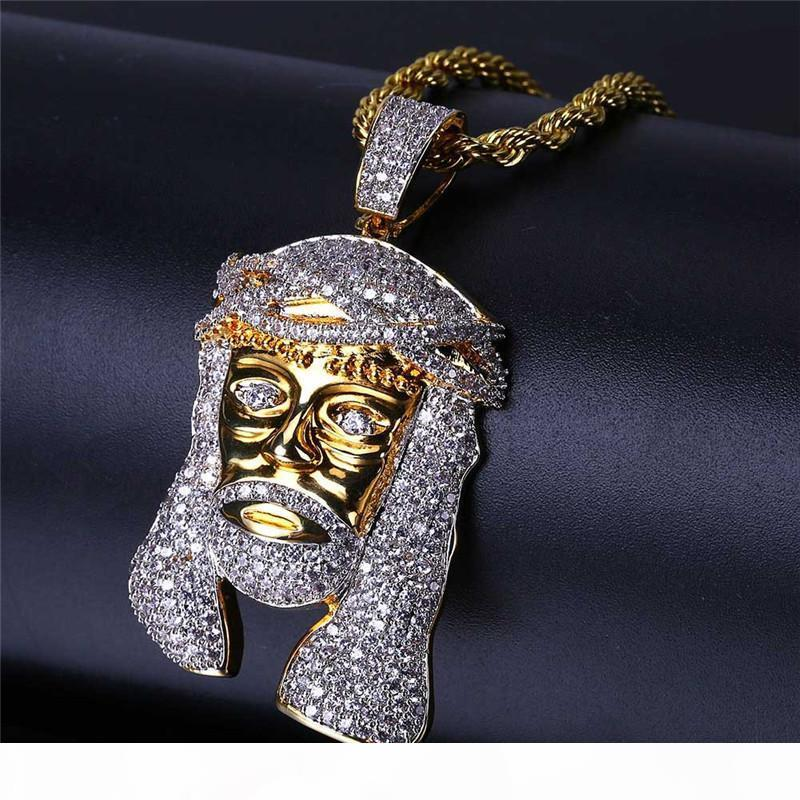 Bell 'Catene ghiacciato fuori il pendente di Hip Hop dei monili del progettista dell'oro Collana Uomini Lunga Gesù Pezzo ciondoli di diamanti Rapper catena Roccia regalo