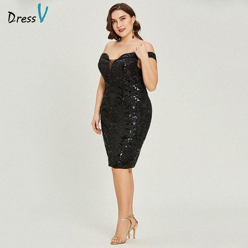 omuz mezuniyet partisi elbise şık moda kokteyl elbiseleri 5Q0d # kapalı siyah kokteyl elbisesi büyük beden kolsuz Dressv