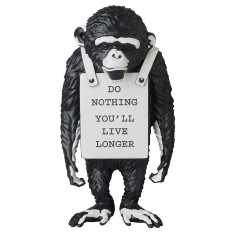 Modern Sanat Banksy Maymun Sokak Siyah ve Beyaz Maymun Heykeli Yaratıcı Reçine ArtCraft Do Nothing Daha uzun Süsler Canlı edeceğiz