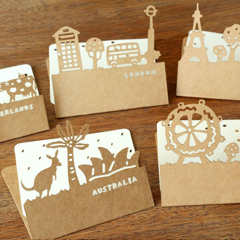 Wholesale-9 pcs/lot Cute Create Hollow Out Paper Kraft Envelope With Greeting Card Korean Stationery Wholesale Free Shipping 731