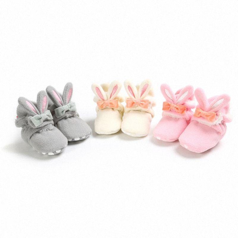 Inverno do bebé Meninas Primeiro Walkers Calçados Grosso Coral velo Longo Orelha Quente Antiderrapante Sapatos lNwJ #