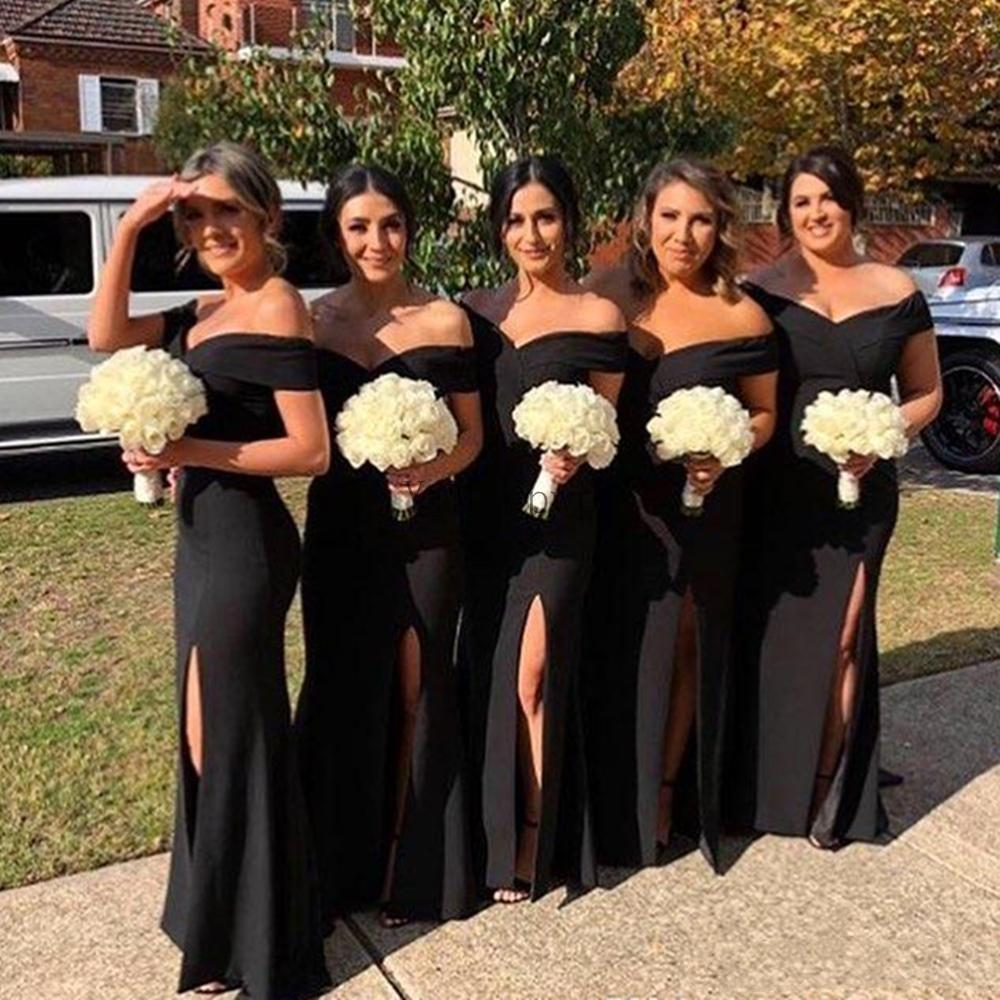 Black Mermaid Bridesmaid Dresses Off Shoulder Side Split Sweep Train Pleats Garden Country Wedding Guest Evening Gowns Maid of Honor Dress