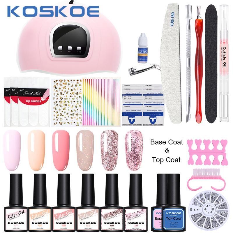 KOSKOE Manucures Set Nail Set Kits avec UV Nail LED 36W lampe Sèche-linge Kit 6 / 12pcs 8ML Soak Design Kit Art LED Off Gel UV