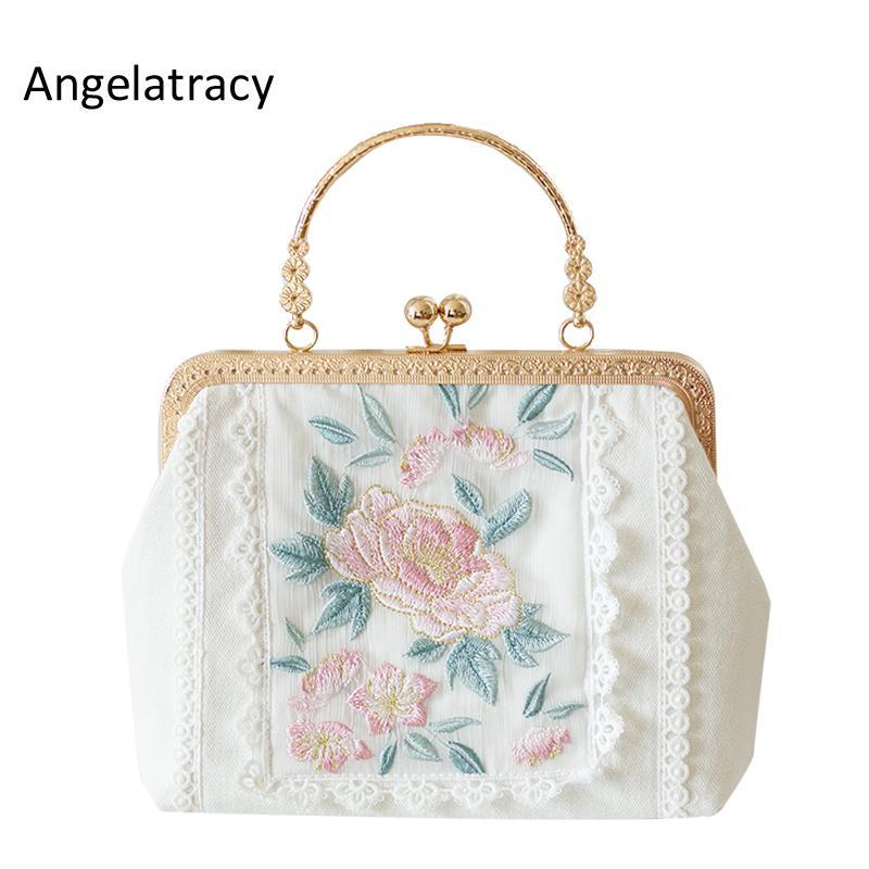 2020 Angelatracy New White Gold Tasche Blumenstickerei Japan Lolita Rose Mini-Spitze-Frauen-Handmetallrahmen Tote Bag Umhängetasche