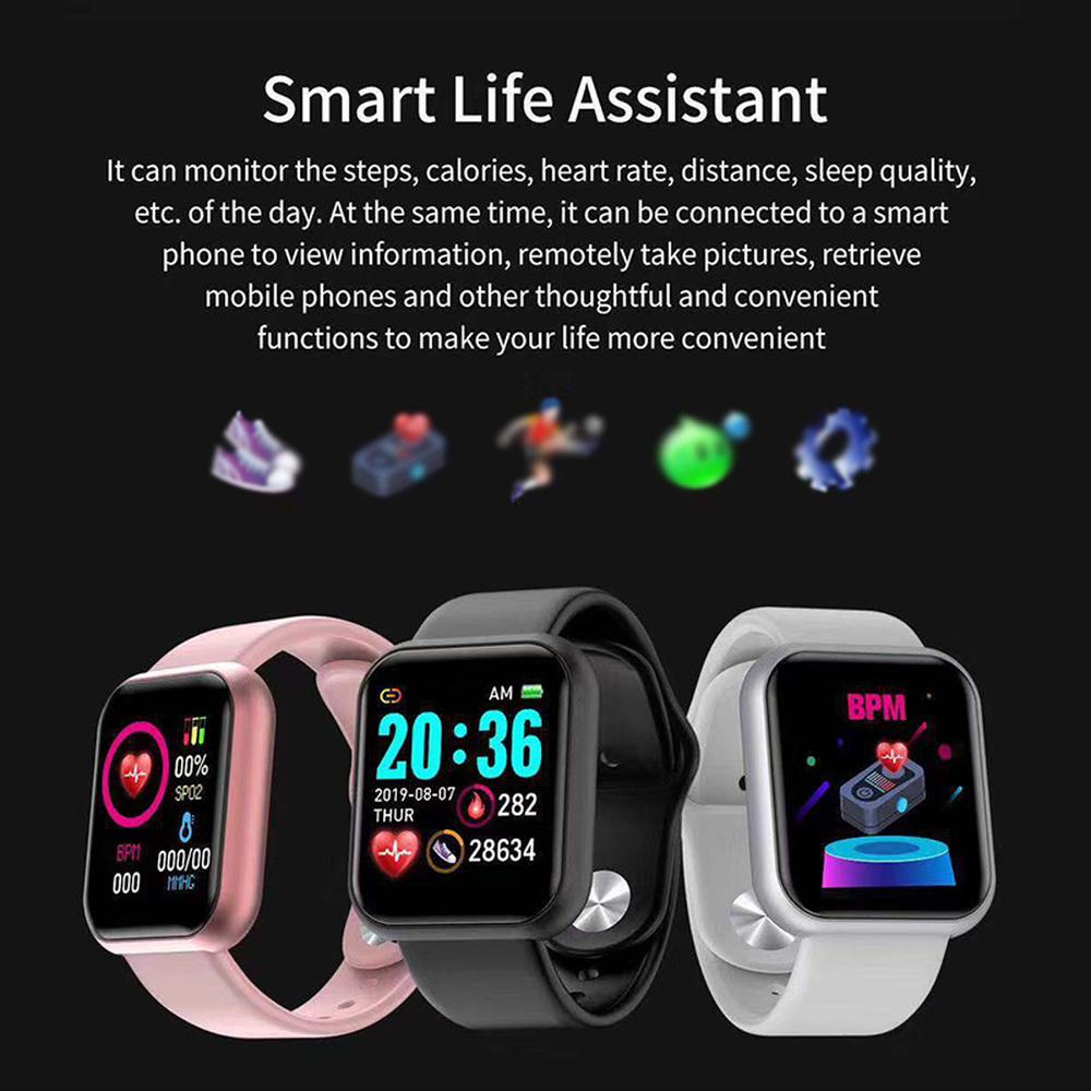 Y68 Wasserdicht Bluetooth Smartwatch Damen Sport Armband Uhr für Android /& IOS