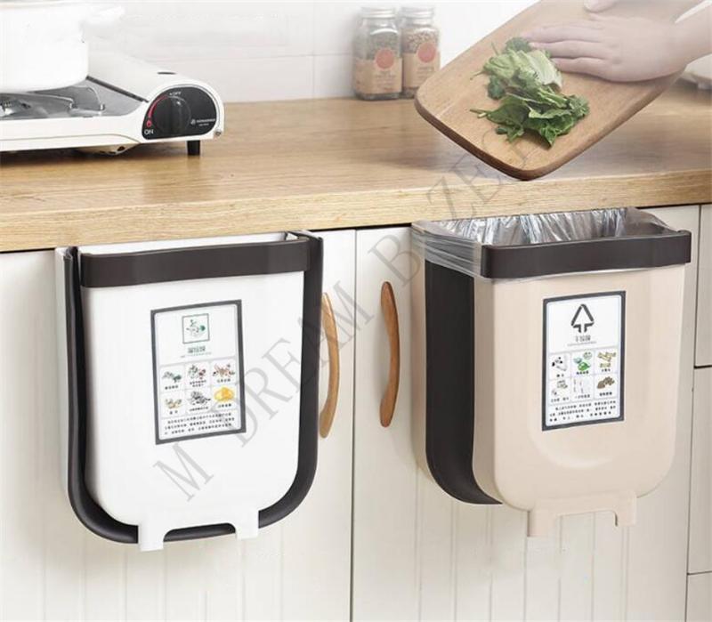 Cestas WFoldable armário de cozinha a suspensão da porta Trash Can Wall-mountedaste Empurre-top lixo Trash Bin Péssima Container