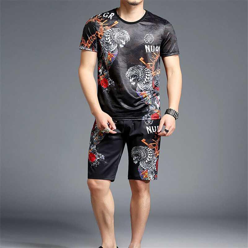 nuevo hombre del diseño hombres de verano de manga corta conjunto de dos piezas de chándal de los hombres de las tapas