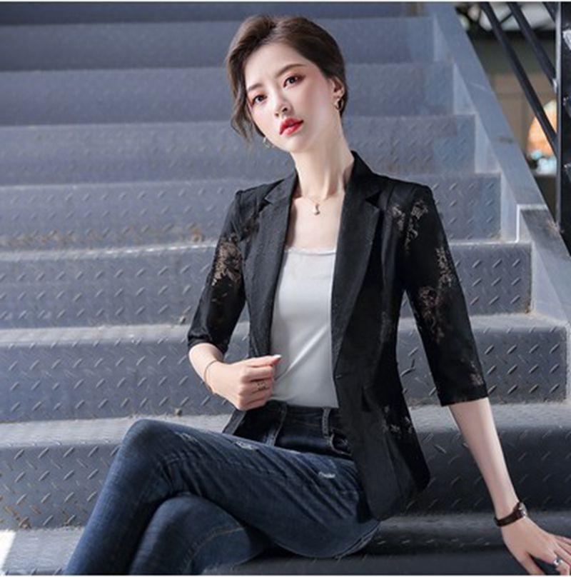 kOudh 쉬폰 레이스 인쇄 작은 코트 실크 스크린 레이스 실크 스크린 정장 여성의 2020 여름 짧은 얇은 한국어 캐주얼 모든 경기 인터넷 셀레