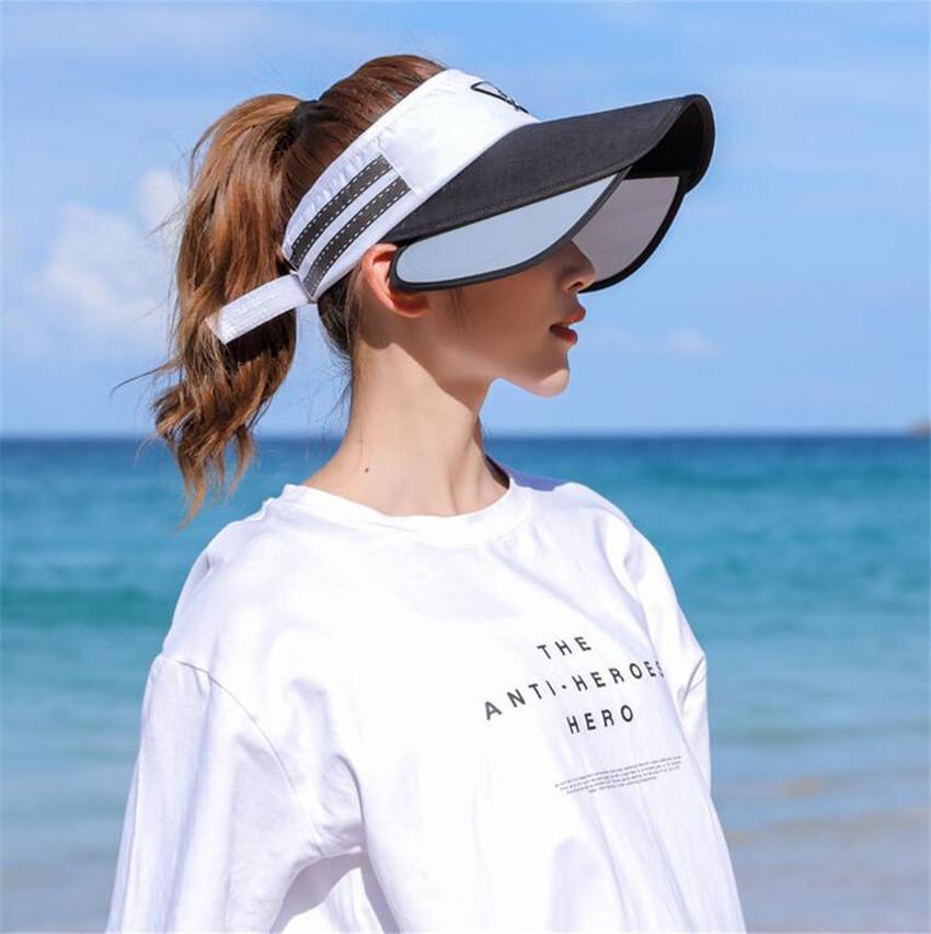 Primavera Verano parasol retráctil Caps Visera Sombrero UPF 50+ de secado rápido de Protección Solar Sombrero viajes de excursión que acampa sombrero de la pesca Y200716