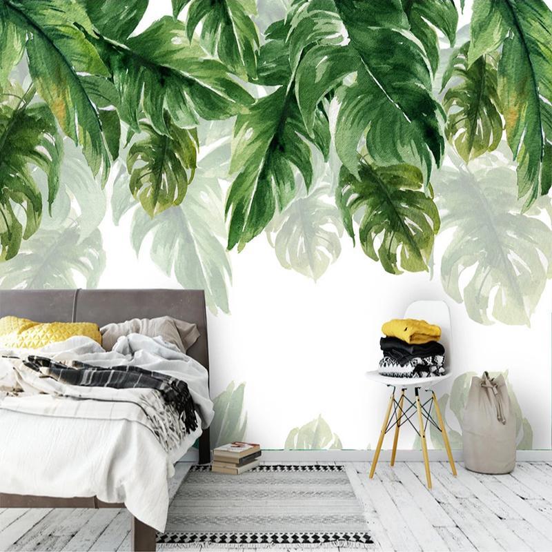 Özel Duvar Kağıdı 3D El Modern Yatak Odası Salon Arkaplan Ev Dekorasyonu Boyama yeşil yapraklar Su geçirmez Tuval Boyalı