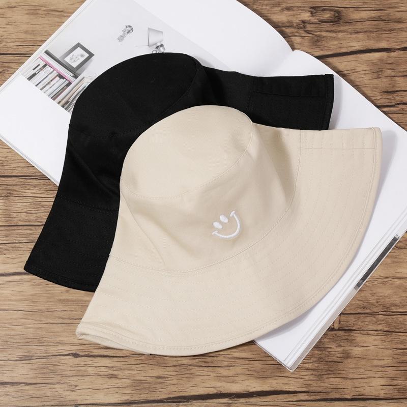 KaN5H Yeni gülen yüz nakış moda çocuk Koreli düz üst balıkçı kişiselleştirilmiş açık seyahat kova şapka kova hatEmbroidered