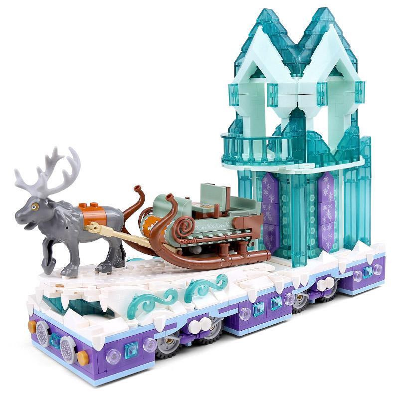 MouldKing الثلوج في فصل الشتاء قصر الأيل الزلاجة حلم الأميرة كريستال موكب تعويم نموذج بناء كتل الطوب ألعاب للبنات هدايا