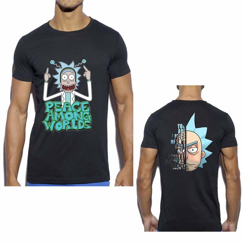 Ricka And Морти для мужчин высокого качества T-Shirt Хлопок Аниме Мужчины Повседневная Streetwear Смешные Короткие рукава Короткие топы Черный / Белый Выборочная