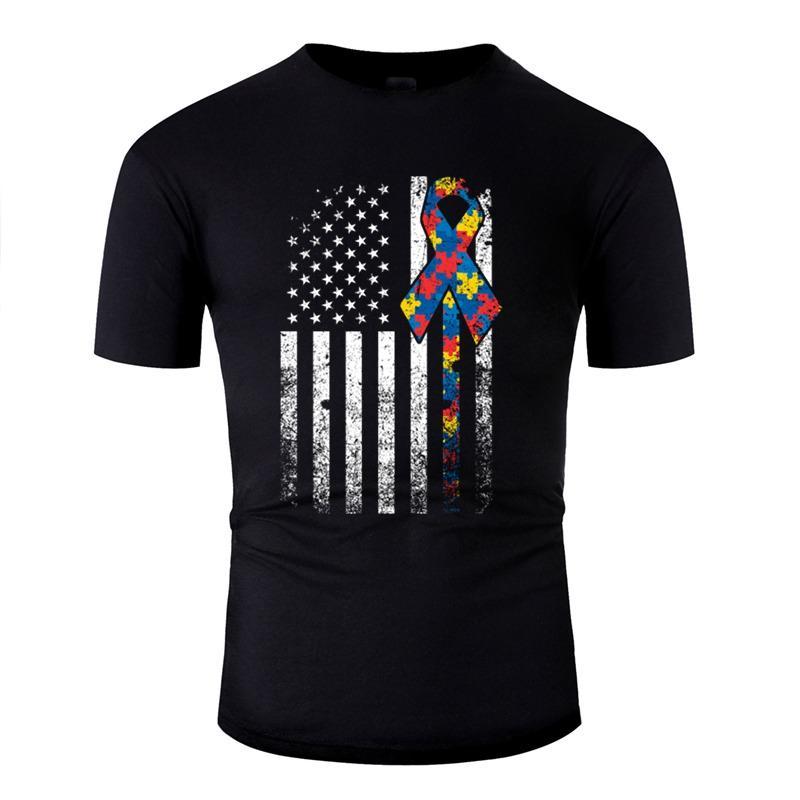 Erstellen Sie Autismus autistische amerikanische Flagge USA-T-Shirt Mann Natürliche Super-Jungen-Mädchen-T-Shirts Weiß Kurz-Hülse