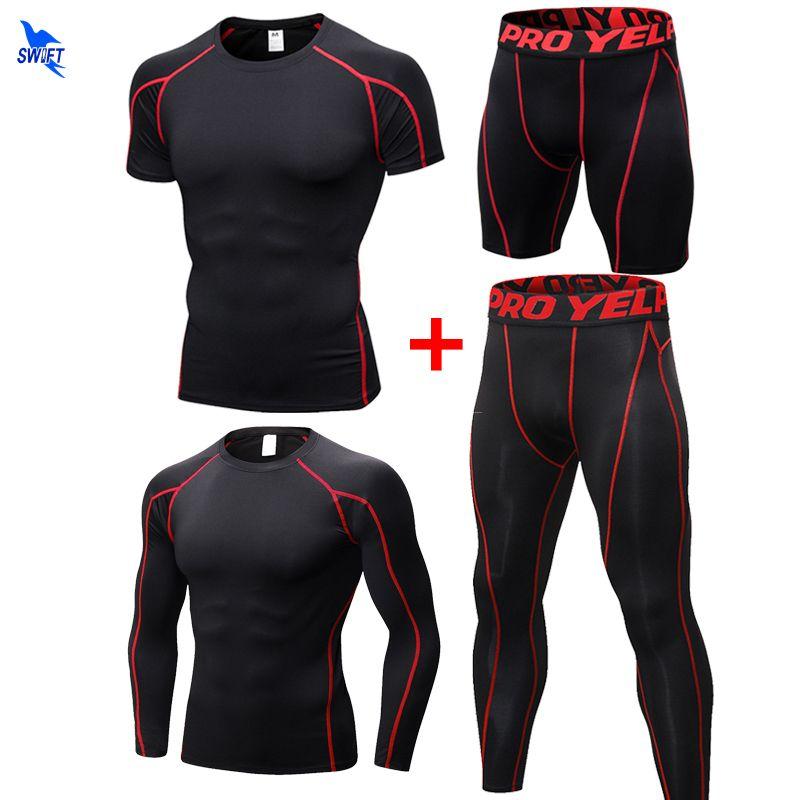 4 Adet Erkekler Spor Sıkıştırma Spor Takımları 2020 Yaz Hızlı Kuru Koşu Setleri Giyim Koşucular Eğitim Gym Fitness Eşofmanlar