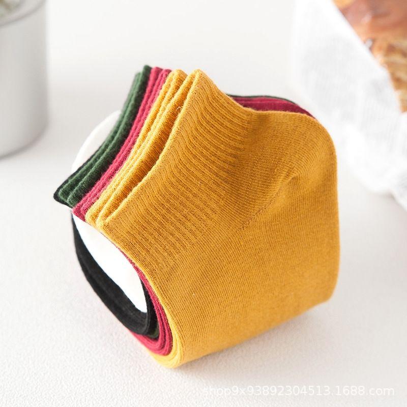 cJI29 style coréen mignon tout-match chaussettes en coton étudiant socksKorean de femmes à faible tube xi han wa mignon xi han style wa déodorant couleur unie SWE
