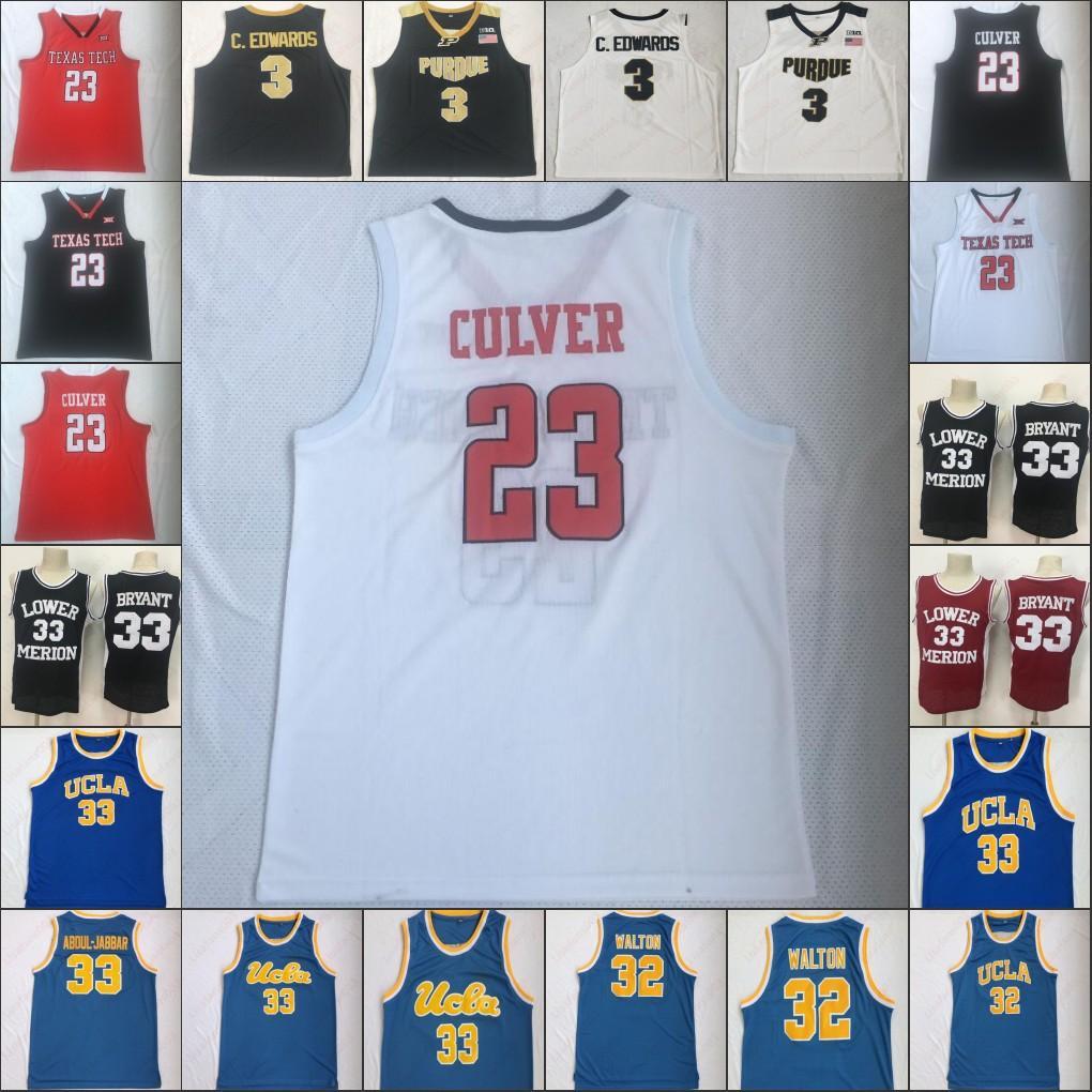 NCAA texas tech 23 Jarrett Culver 3 Carsen Edwards 33 Bryant College Basketball High School 100% Stiched mens Jerseys Size S-XXL