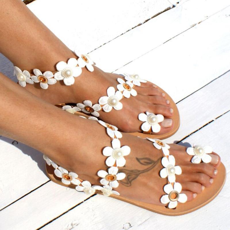 Малый цветы Пляж сандалии Плюс Размер Женщины Bohemia Гладиатор Pearl плоские туфли Женский сандалии дамы Sandalias флип-флоп