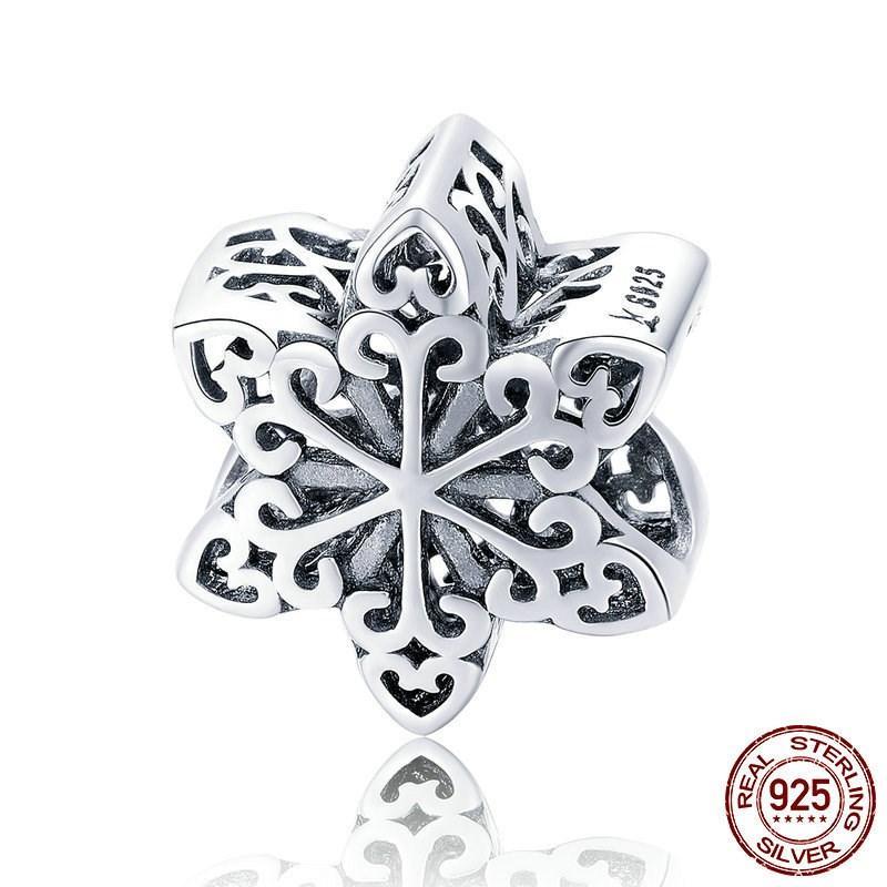 manera del encanto de plata pura S925 plata esterlina chapada en oro rosa copo de nieve del colgante DIY perlas pulseras al por mayor de joyería turco