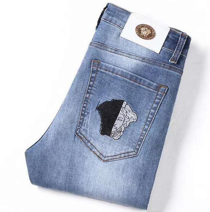 Hombre de la moda del estilista Jeans Hip Hop de la cremallera de los pantalones vaqueros para hombre adecuados agujero rasgado los pantalones de motorista Denim Blue