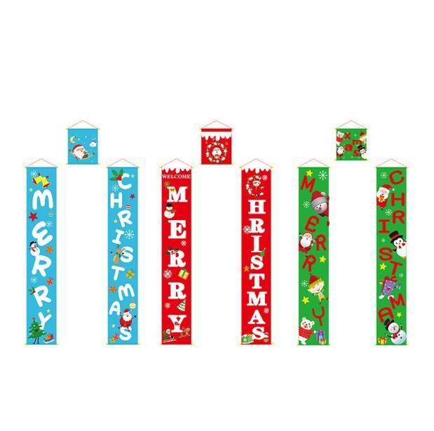 Новые Хэллоуин двери занавес Couplet трех частей Рождество Баннер висячие Баннеры Торговые центры Магазины Компоновка Куплеты Праздничные товары