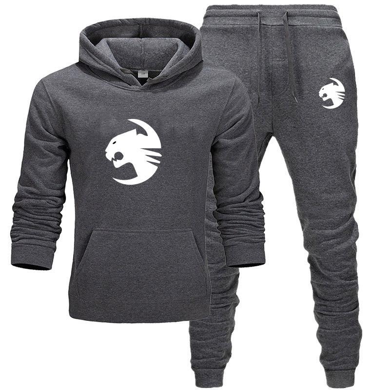 남성 디자이너의 운동복 카디건 재킷 후드 후드 롱 팬츠 Sweatsuits 캐주얼 표범 인쇄 정장 2 PCS 남성 의류