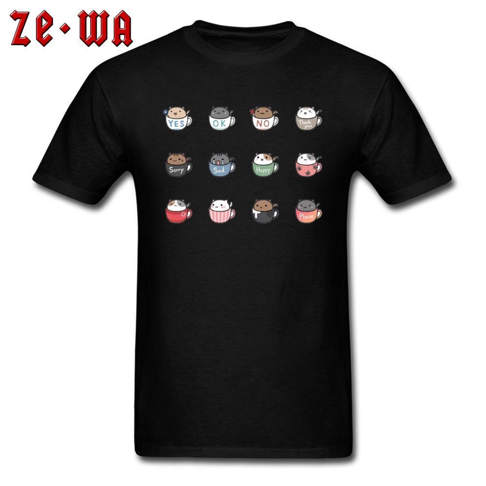 Sevimli Tshirt Özel For Men Kupası Kediler Baskılı On Erkek Giyim Guys Siyah Tişört O Boyun Basit T Gömlek Kaliteli Streetwear