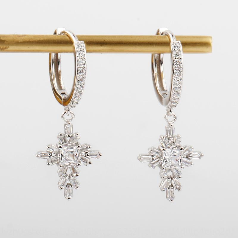 2020 моды аксессуары алмазов стерлингового серебра крест циркон серьги 925 полный бриллиантовые серьги холодный ветер аксессуары