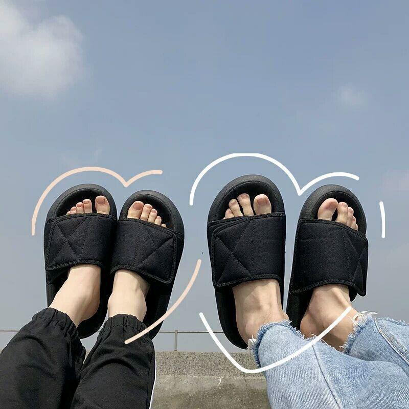 misma coco sandalias y zapatillas desgaste del verano de las mujeres 2019 nueva pareja Pan las zapatillas de personalización de gancho y lazo Botto gruesa de laUEZ Kan YE
