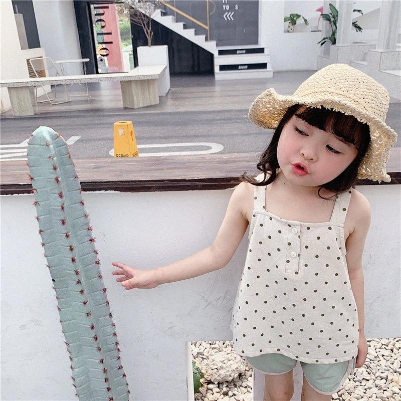 Koodykids Verão Tanque menina Vintage cobre a camisa Blusas de bolinhas menina miúdos Tops coreano Vintage Simples New Verão Outfit SqWO #