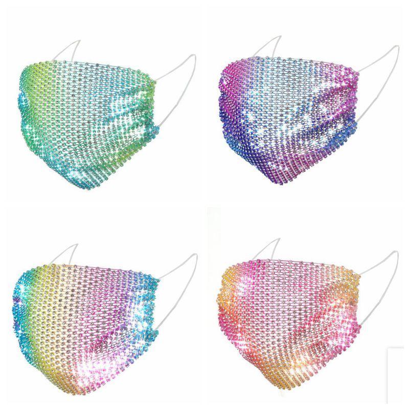 بريق بلينغ بلينغ الترتر الوجه أقنعة قناع مصمم الغبار أقنعة قابل للغسل قابلة لإعادة الاستخدام الوجه تغطية الفم مطاطا حلقة الأذن تنفس CGY21