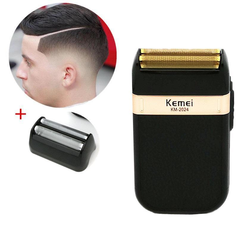 Kemei máquina de afeitar para hombre de barba Trimmer húmedos y secos de doble cuchilla alternativa máquina de afeitar eléctrica cortadora de cabello Negro USB de carga 5 BkHrC zltrimmer007