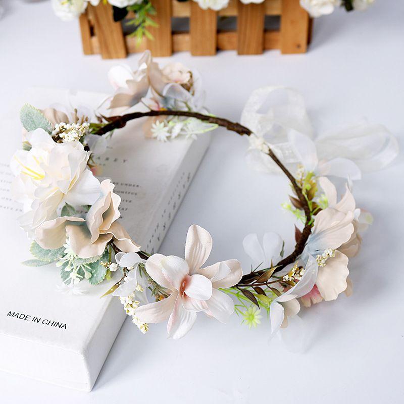 Bridal Wedding Garlands Fashion Girls Stereo Simulation Flowers Hair Accessories Woman Handmade Fresh Princess Hairbands S264