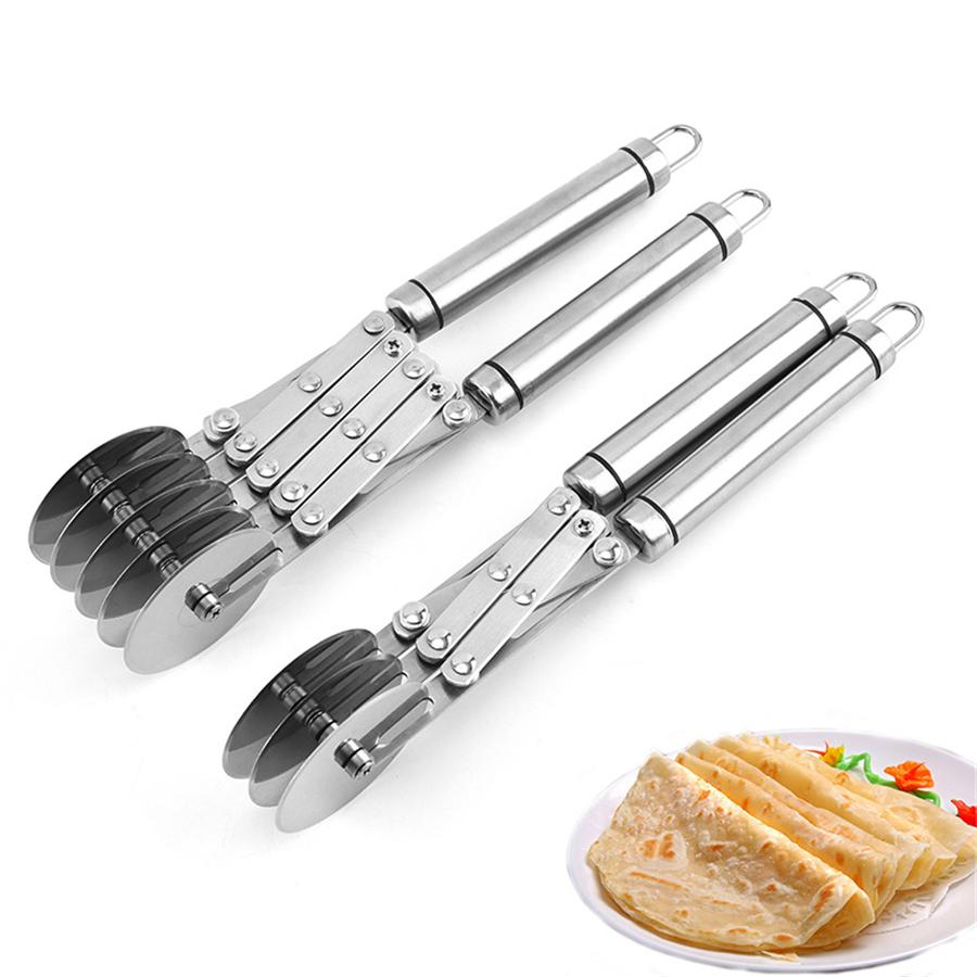 Pastry Cutter Expandable Stainless Pizza Slicer Multi-Round Dough Cutter Roller Cookie Pastry Knife Divider with Handle JK2003