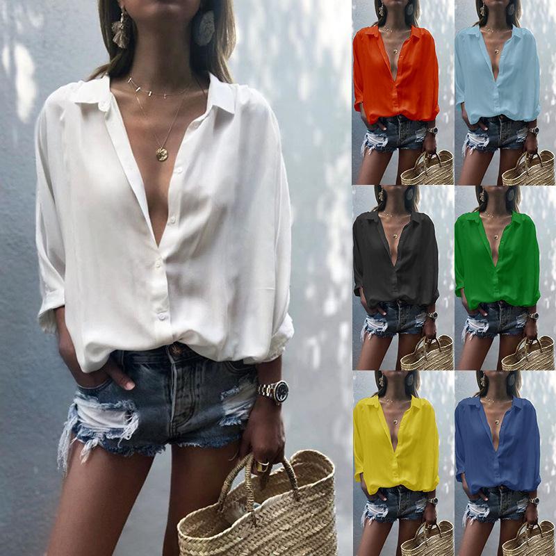 Сыпучие случайных женщин блузки осень 2020 женские блузки глубоко кнопку V-образным вырезом сплошной цвет сшивание шифона