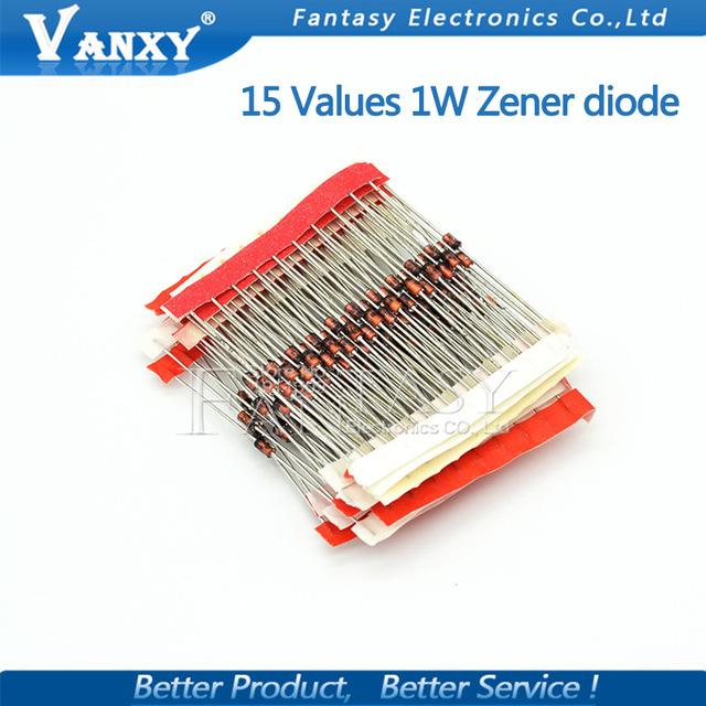 전자 부품 공급기 15values * 10PCS = 150pcs 1W 제너 다이오드 키트 DO-41 3V-30V 성분 DIY 키트 새로운 오리지널