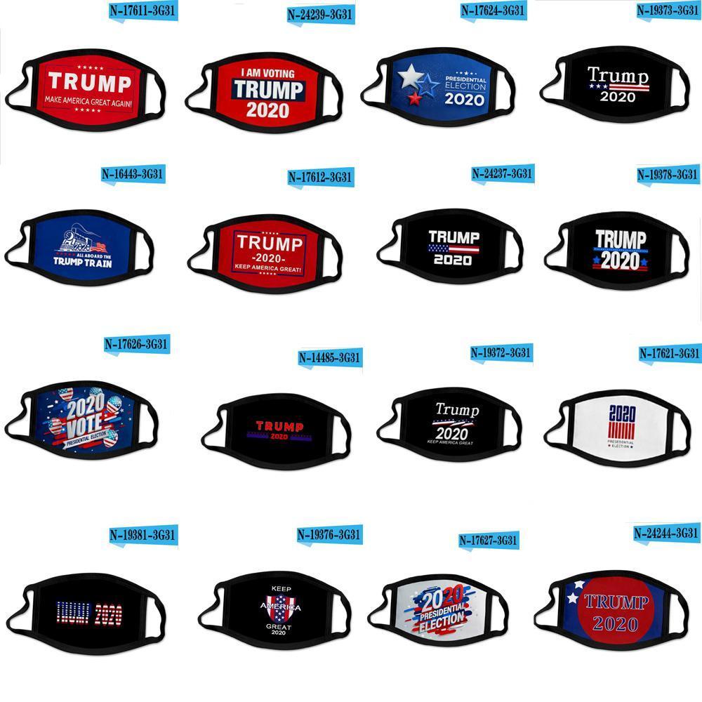 최신 44 개 스타일 2020 년 도널드 트럼프 얼굴 입 재미 먼지 방지 코튼 USA 미국 선거 미국 블랙 빨 성인 마스크 마스크 마스크